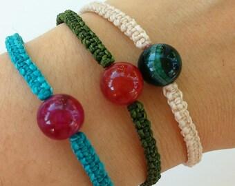 Handmade bracelet - Natural Stone beads- Waxed thread bracelet- Friendship bracelet - Bracelets for summertime - bracelets for the beach