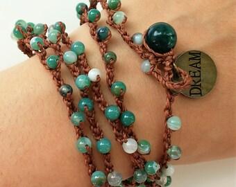 Brazalete de crochet-Beach jewelry-Natural stone bead necklace-crocheted necklace-Collar de crochet-Boho jewelry-Beachwear-handmade jewelry