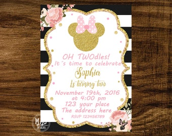 Minnie Mouse Pink and Gold Invitation - Pink and Gold Minnie Mouse Birthday Party Invitation - Minnie Mouse Invitation. Digital File.