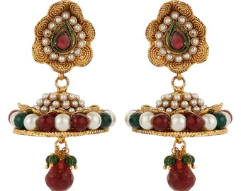 Dilan Jewels PURE Collection Multicoloued Antique Golden Jhumka Earrings For Women