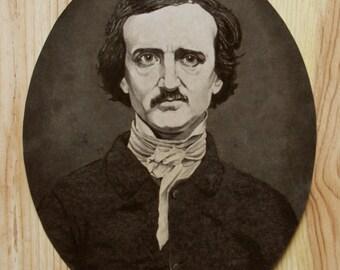 Edgar Allan Poe Original ink wash portrait