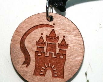 Castle Necklace Fantasy Jewelry Laser Cut Wooden Pendant Palace Princess Wood Adjustable Necklace Once Upon a Time Fairy Tale Medieval