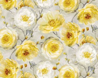 Sunshine - light grey & yellow floral by Willmington Prints