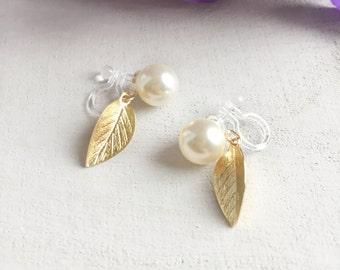 Pearl earrings with dangling gold leaf, non-pierced, elegant earrings, comfortable painless invisible clip-on, bridesmaid, bridal, wedding