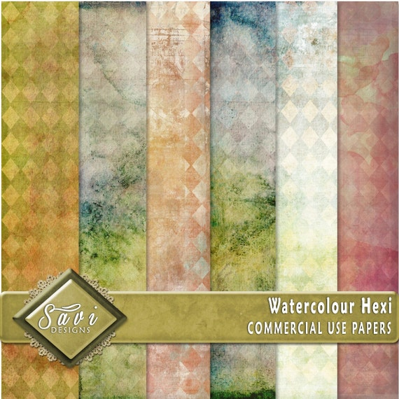 CU Commercial Use Background Papers set of 6 for Digital Scrapbooking or Craft projects WATERCOLOUR HEXI, Designer Stock Papers