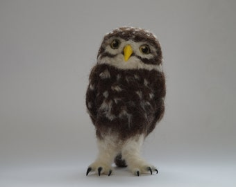 Needle felted burrowing owl
