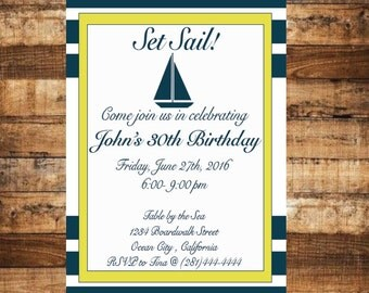 Nautical Invitation-Sailboat Invitation-Out to Sea Party-Nautical Yellow