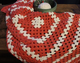 Handmade Pink/White Crochet Lapghan