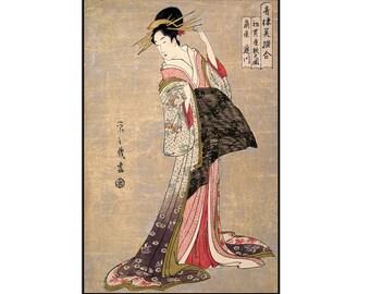 Geisha Digital Print - Geisha Printable - Japanese Beauty - Japanese Vintage Print - Ukiyo-e - Woodblock - Digital Download - Digital Print
