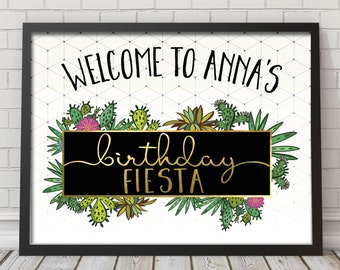 Fiesta birthday welcome sign, Mexican fiesta welcome sign, birthday welcome sign, cactus welcome sign, fiesta welcome sign  (Sofia)