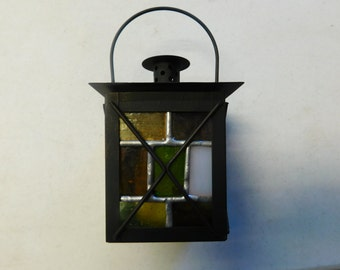 Lantern with Stained Glass Inserts