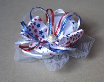 Patriotic Satin and White Mesh Hair Bow