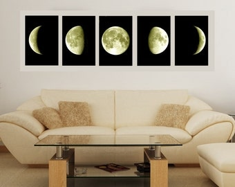 Moon print moon and stars cosmos moon phases moon poster wall art print wall art decor minimalism luna cosmos bedroom decor SET of 5 A4 A3
