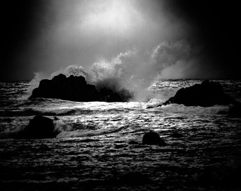 Rough Seas | Monterey Carmel Coast Point Pinos | Exclusive Black & White Exhibition Photograph (downloadable digital image)