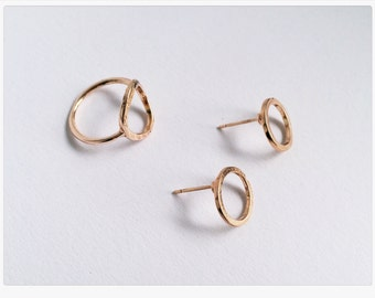 Round earrings rose gold, rose gold earrings, minimalsim, minimal chic, filigree jewelry