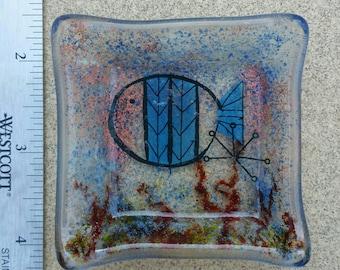 Fused Glass Dish - Glass Fish -  Fused Glass Trinket Dish - Beach Gift - Fused Glass Fish