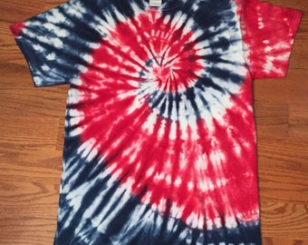 Red, White and Blue Spiral Custom Tie-Dye Shirt