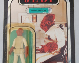 Vintage Star Wars Admiral Ackbar Action Figure on 77 Card Back (Return of the Jedi) by Kenner
