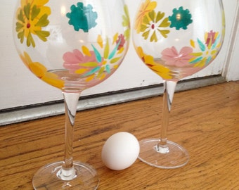 2 Hand painted crystal ballon wine glasses