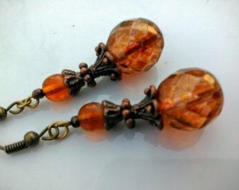 Dark Amber - Picasso Czech Glass Earrings