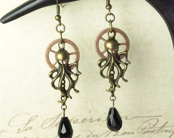In 5 colors!  Squid of Octopus gear drops steampunk earrings
