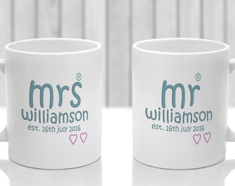 Newly weds gift mugs x 2 personalised. Ideal present for bride and groom with mr mrs name and date or anniversary
