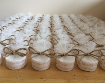 Personalised Vintage Shabby Chic Style Tealight Candle Wedding Favours (Set of 10)