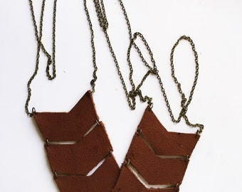Leather Chevron Necklace
