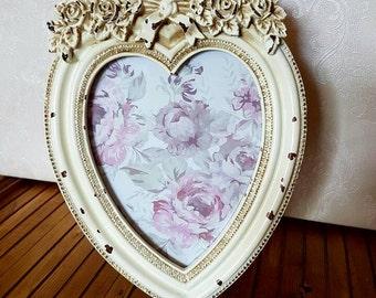 Vintage Inspired Shabby Chic Heart & Roses Photograph Frame