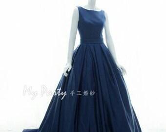 HEATHER aline wedding dress - Sheer back with hand beaded sequins, Boat neckline