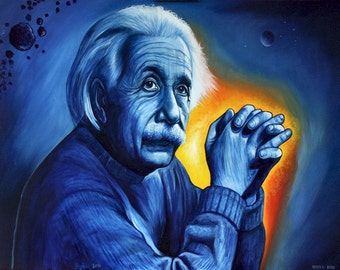 Photorealistic oil painting portrait of Einstein