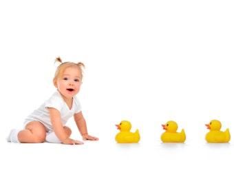 Ducks In A Row, High Key, Baby, Toddler, Child, Boys, Girls Studio Portrait Photography Digital Backdrop Digital Props