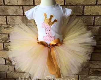 Pink Gold Embrodiered Set, Birthday Tutu Set, Silver Pink Birthday Outfit, Number 1 Crown Birthday Embrodiery, Pink Tutu Set