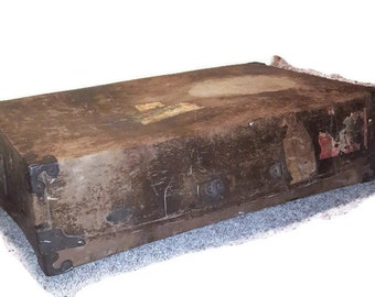 Vintage Leather Military Suitcase storage