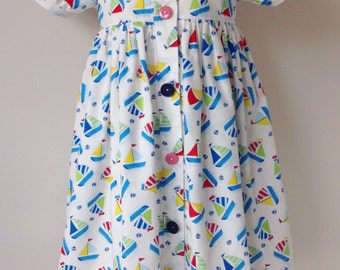 Girl's summer dress, girl's cotton dress, sailboats dress, child's dress, holiday dress, cotton summer dress, short-sleeved dress