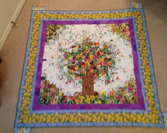 Watercolor quilt tree