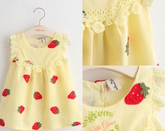 Strawberry dress, girls summer dress, baby girl dress, girl dress, strawberry print dress,