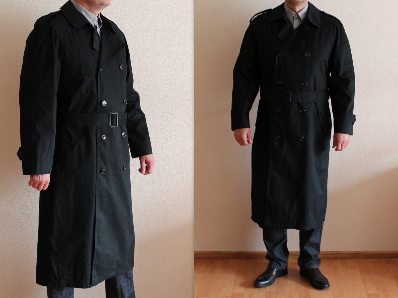 herren trenchcoat schwarzer trenchcoat herren mantel klassisch. Black Bedroom Furniture Sets. Home Design Ideas