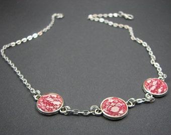 Botanical necklace – Tiny necklace – Red Bib necklace – Red Wedding necklace - Lace necklace – Retro jewelry - Resin jewelry (BN022)