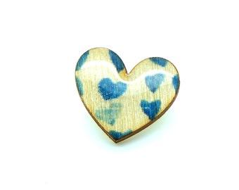 Heart Brooch - Blue Love