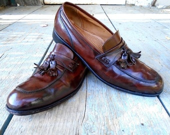 Mens shoes Florsheim Brown Leather Loafers with Tassels Size 12D