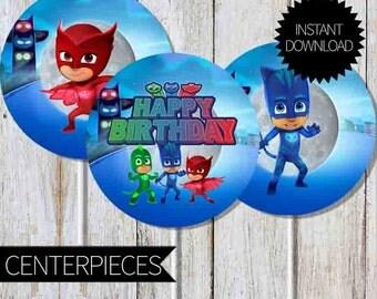 PJ Masks Birthday Party PRINTABLE Centerpieces- Instant Download   Disney Junior  PJ Masks  Cake Topper