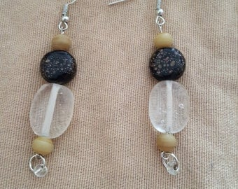 Brown and clear beaded earrings