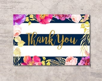 Navy Thank You Card Printable, floral navy white stripes, instant download digital file, baby shower card, gold glitter navy, birthday
