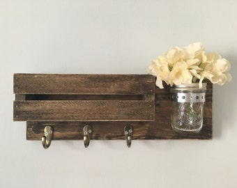 Rustic mail and key holder with mason jar. With flower