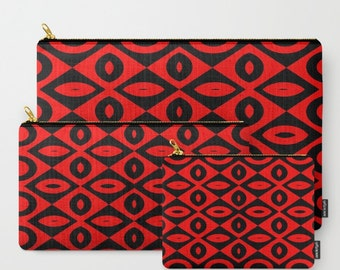 Red and Black-Carry All Zipper Pouch -Set of 3