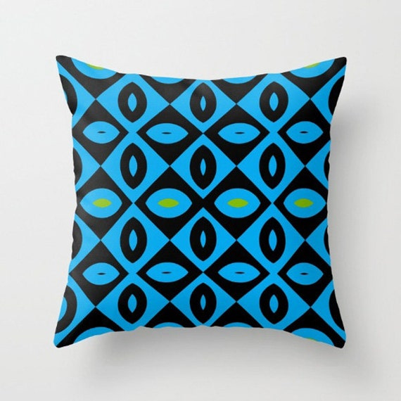Black and Blue with Green Throw Pillow by NNPinksDesigns on Etsy