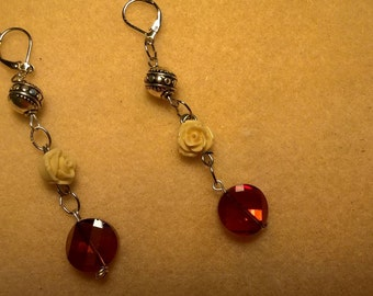 Rose and Amber drop earrings