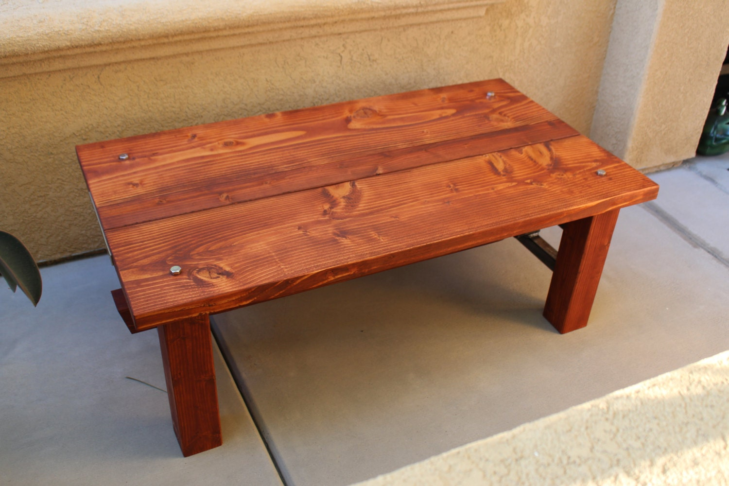 Rustic Coffee Table Handmade Steel Wood Living Room Table
