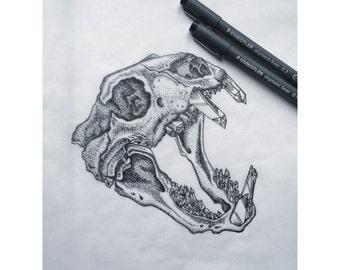 Animal Skull Crystal Teeth Print